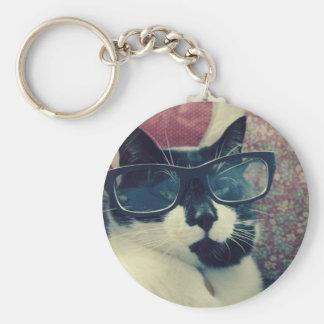 Hipster-Katze Keychain Standard Runder Schlüsselanhänger