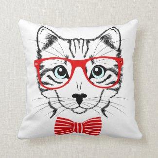 Hipster-Katze mit Gläsern u. Bowtie Kissen