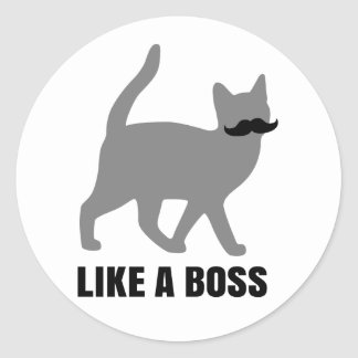 Hipster-Katze mögen einen Chef Runde Aufkleber