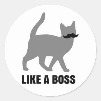 Hipster-Katze mögen einen Chef Runder Aufkleber