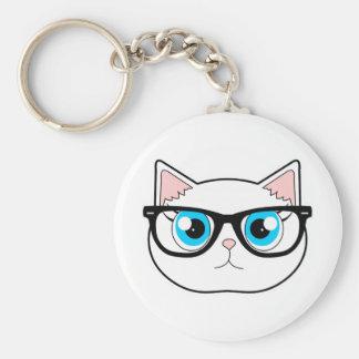 Hipster-Katze Standard Runder Schlüsselanhänger