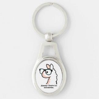 Hipster-Lama Silberfarbener Oval Schlüsselanhänger