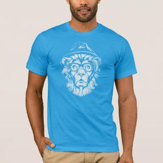 Hipster-Löwe-Blau T-Shirt