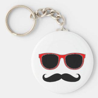 Hipster mit roten Schatten Schlüsselanhänger