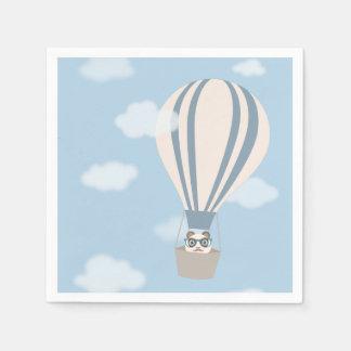 Hipster-Panda auf Heißluft-Ballon Serviette