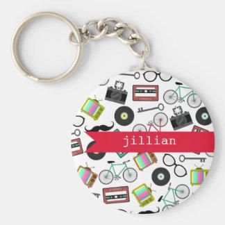 Hipster personalisiertes Keychain Standard Runder Schlüsselanhänger