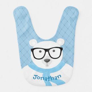 Hipster-polarer Bär im hellblauen Schal-Gesteppten Babylätzchen