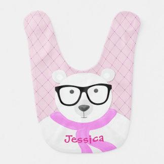 Hipster-polarer Bär in blassem - Rosa Babylätzchen
