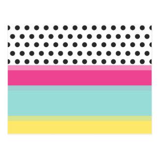 Hipster-Polka-Punkte und Farbblöcke Postkarten