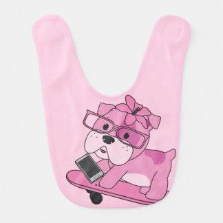 Hipster-rosa Bulldogge Babylätzchen