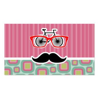 Hipster-Rosa und tadelloser Retro Schnurrbart Visitenkarten