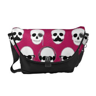 Hipster-Schädel-Muster-Rosa Kurier Taschen