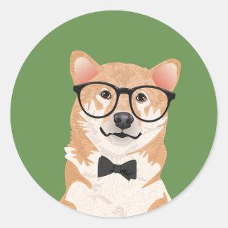 Hipster Shiba Inu Aufkleber