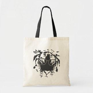 Hipster-Tiger mit den Gläsern, schwarz Budget Stoffbeutel