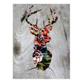 Hipster-Vintage Blumenrotwild-Kopf-Silhouette