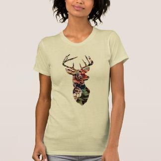 Hipster-Vintage Blumenrotwild-Kopf-Silhouette Tshirt