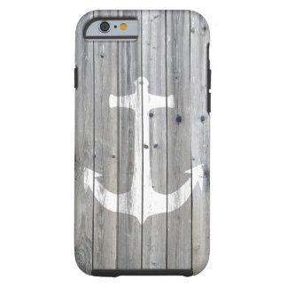 Hipster-Vintager weißer Seeanker auf grauem Holz Tough iPhone 6 Hülle