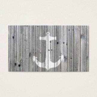 Hipster-Vintager weißer Seeanker auf grauem Holz Visitenkarte
