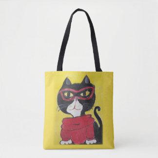 Hipster-Volkskunstturtleneck-Katze Tasche