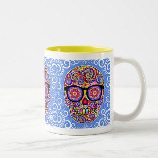 Hipster-Zuckerschädel-Tasse - Tag der toten Kunst Zweifarbige Tasse