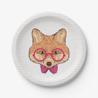 HipsterFox mit extravagantem rosa Bogen Pappteller