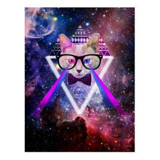 Hipstergalaxiekatze Postkarten