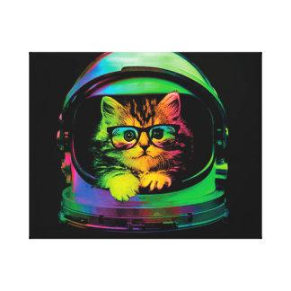Hipsterkatze - Katzenastronaut - sperren Sie Katze Leinwanddruck