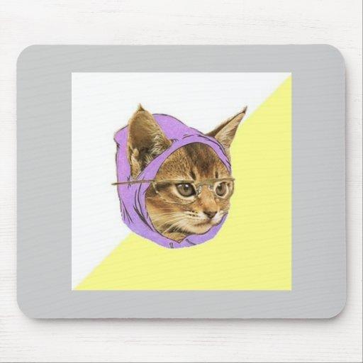 Hipsterkitty-Katzen-Ratetier Meme Mauspads