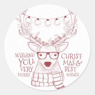 Hipsterren flüchtige Grüße froher Weihnachten Runder Aufkleber