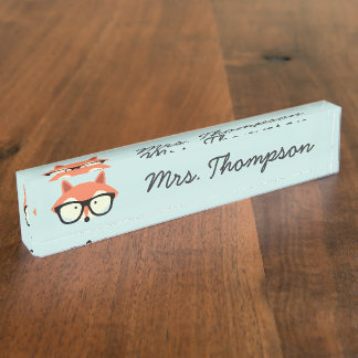 Hipsterroter Fox Namensplakette