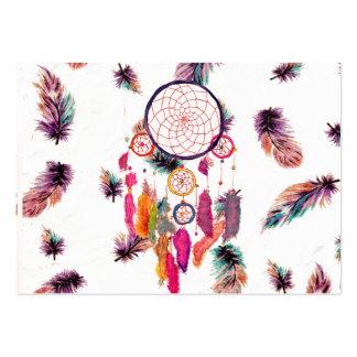 HipsterWatercolor Dreamcatcher versieht Muster mit Visitenkarten Vorlagen