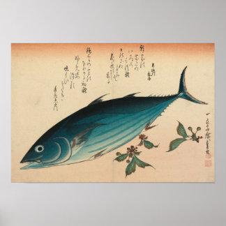 Hiroshige Fisch-Thunfisch Woodprint Poster