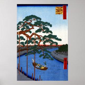Hiroshige fünf Kiefern, Onagi Kanal Poster
