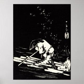 Hiroshige Hanaikada Blumen-Blumenblätter, die Poster