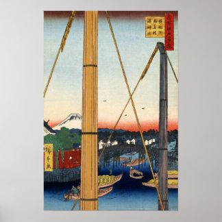 Hiroshige, Inari Brücke und Minato Schrein, Poster