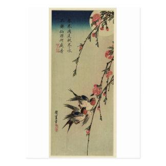 Hiroshige Schwalben und Pfirsich-Blüten Postkarte
