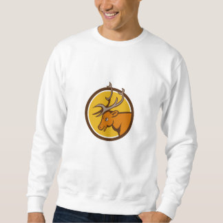 Hirsch-Rotwild-Dollar-Kopf-Kreis-Cartoon Sweatshirt