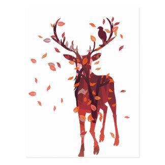 Hirsch-Silhouette mit Wald 2 Postkarte