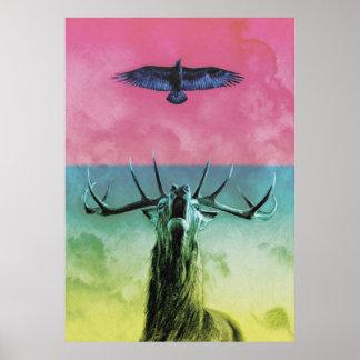 Hirsch und Eagle in der Farbe Poster