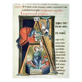"""Historiated Initiale """"A"""" Daniel darstellend Postkarte"""