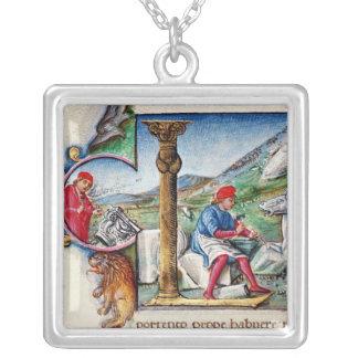Historiated Initiale 'L Halskette Mit Quadratischem Anhänger
