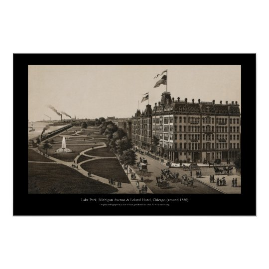 Historic view of Grant Park, Chicago (around 1880) Poster