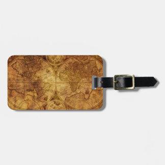 Historische alte antike Weltkarte Gepäckanhänger