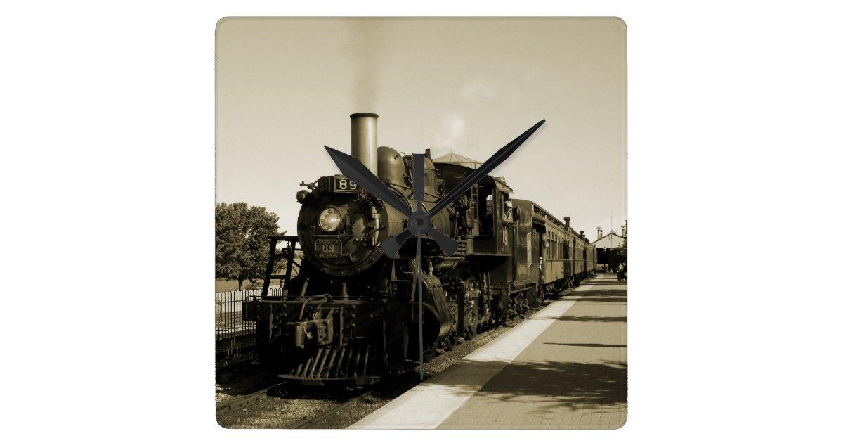 Historic railroad quadratische wanduhr zazzle - Wanduhr eisenbahn ...