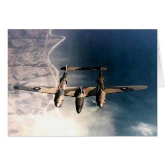 Historische Flugzeuge des Kriegs-WW2 im Flug Grußkarte