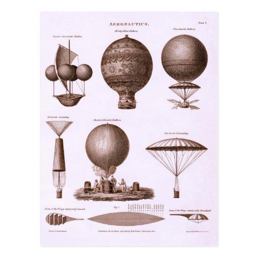 Historische Heißluft-Ballon-Entwürfe Postkarte