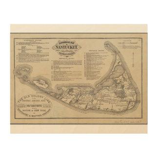 Historische Karte der Nantucket Wand-Kunst Holzdruck