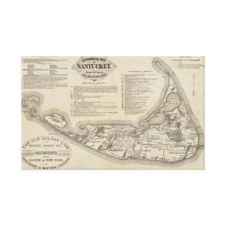 Historische Karte der Nantucket Wand-Kunst Leinwanddruck