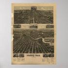 Historische Karte des Pueblos Colorado 1890 Poster