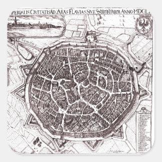 Historische Karte von Nordlingen, Deutschland im Quadratischer Aufkleber